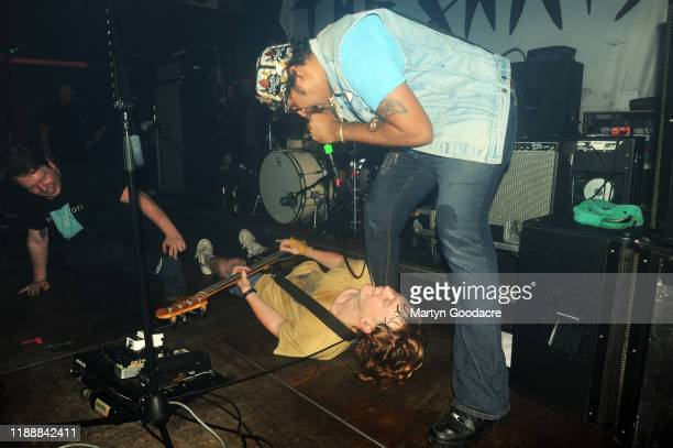 King Khan and singer and bassist Eamon Sandwith of The Chats perform on stage at Cassiopeia November 18 2019 in Berlin Germany