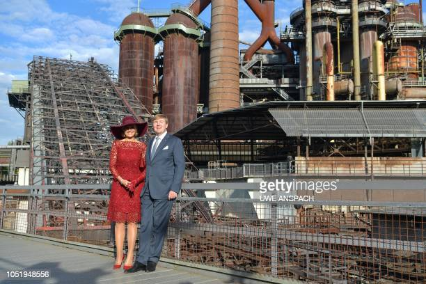 King King Willem-Alexander of the Netherlands and Queen Maxima of the Netherlands pose for photographers as they visit the Voelklinger Huette World...
