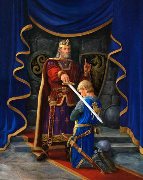 King knighting knight. King Arthur, Lancelot