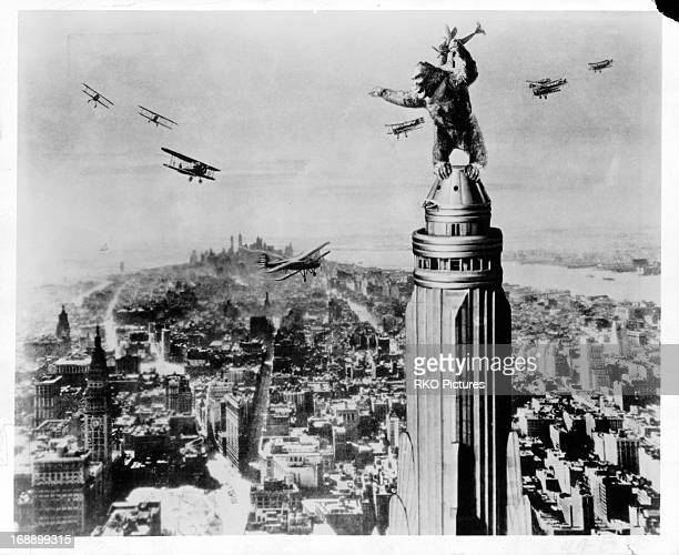 King Kong grabs planes in a scene from the film 'King Kong' 1933