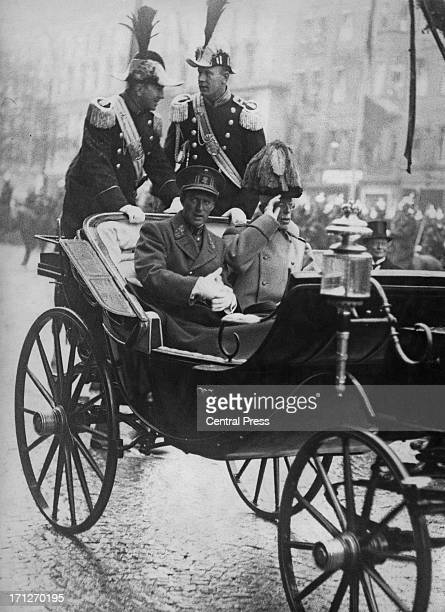 King Leopold III of Belgium and King Gustaf V of Sweden in the first car of the procession to the royal castle during King Leopold's visit to...