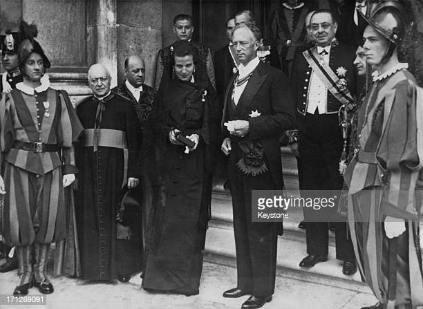 King Leopold III of Belgium and Princess Lilian of Belgium leave the Vatican after a private audience with the Pope 12th June 1950