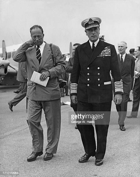 King Leopold III of Belgium seen here at the Farnborough Air Show walking with Lord Mountbatten Farnborough 3rd September 1958