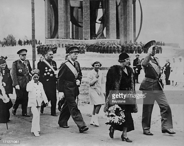 King Leopold III of Belgium unveils the National Memorial to King Albert I of Belgium at Nieuwpoort Bridge Belgium 24th July 1938 Walking behind the...