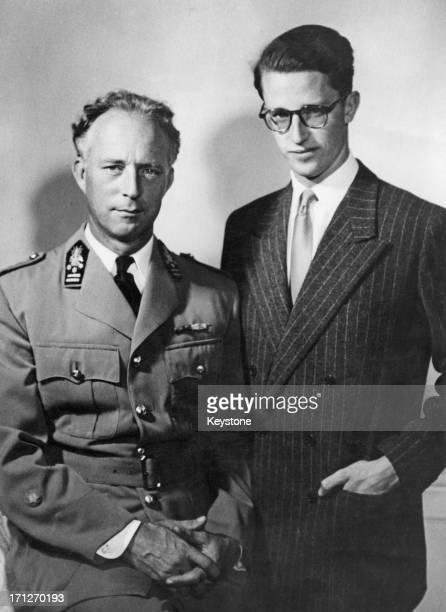 King Leopold III of Belgium with his son Prince Baudouin of Belgium circa 1950
