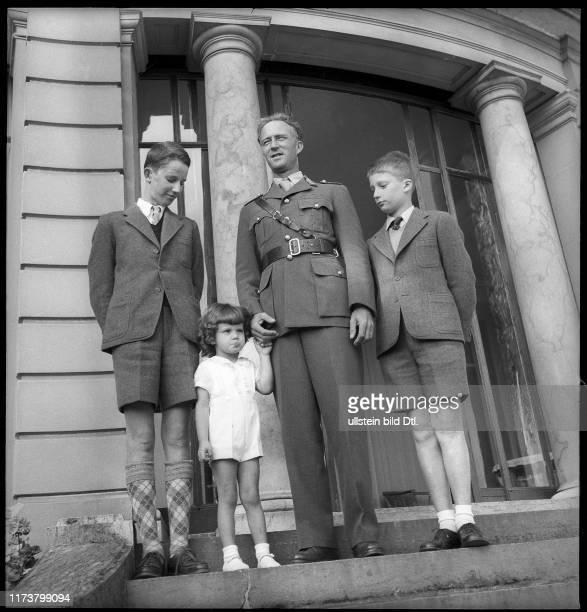 King Leopold of Belgium with his sons Baudouin, Alexander and Albert, 1945