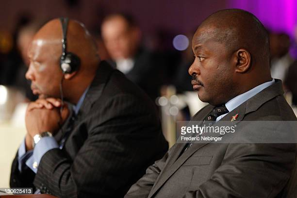 King Letsie III of Lesotho and president of the Republic of Burundi Pierre Nkurunziza attend Plenary Sessions at the Peace & Sport 5th International...