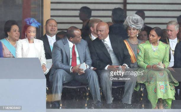 King Letsie III of Lesotho and Queen 'Masenate Mohato Seeiso attend the Enthronement Ceremony of Emperor Naruhito at the Imperial Palace on October...