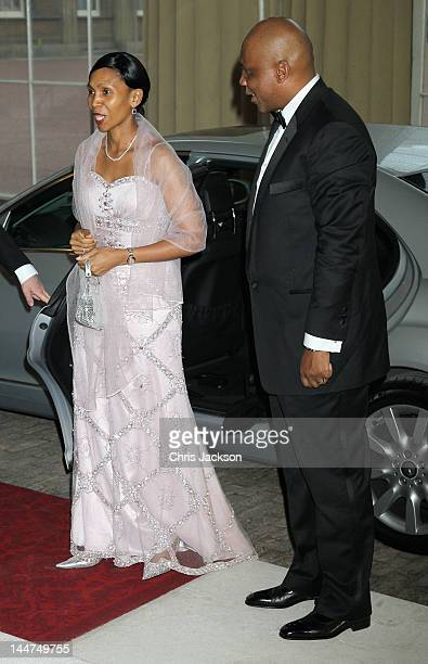 King Letsie III of Lesotho and Queen Mesenate Mohato Seeiso of Lesotho attend a dinner for foreign Sovereigns to commemorate the Diamond Jubilee at...