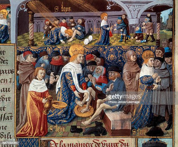 King Louis IX washing poor's men feet and scenes of King's Christian charity Miniature from a manuscipt entitled Le Livre des faits de Monseigneur...