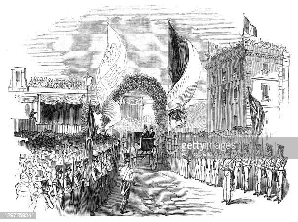 King Louis Philippe entering the railway station, 1844. Visit of the French king Louis Philippe to Britain: 'The train started from Gosport with the...