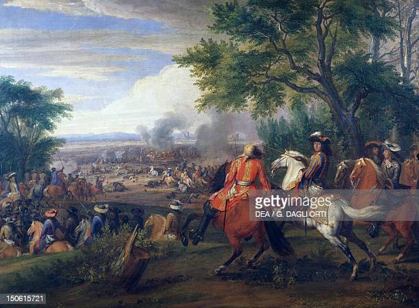 King Louis XIV at the defeat of the Spanish army near the Bruges Canal in 1667 painting by Van der Meulen France and Belgium 17th century