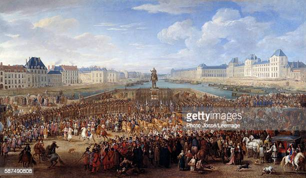 King Louis XIV in triumphal carriage crossing the Pont Neuf in Paris. Painting by Adam Frans van der Meulen , 17th century. Beaux-Arts Museum,...