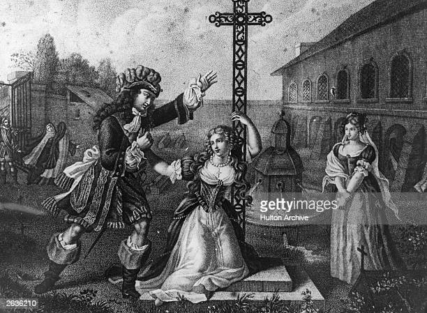 King Louis XIV of France, , king of France from 1643, entreats the Duchesse de La Valliere, to leave her Carmelite nunnery in Paris, circa 1667....