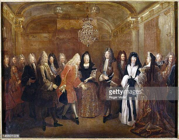 King Louis XIV of France meets Frederick Augustus I the Elector of Saxony in Fontainebleau 1714 Painting by Louis de Silvestre in the Musée de...