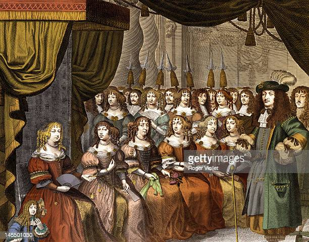 King Louis XIV of France surrounded by the Ladies of the Court in Versailles France circa 1660 Engraving French National Library Colorization