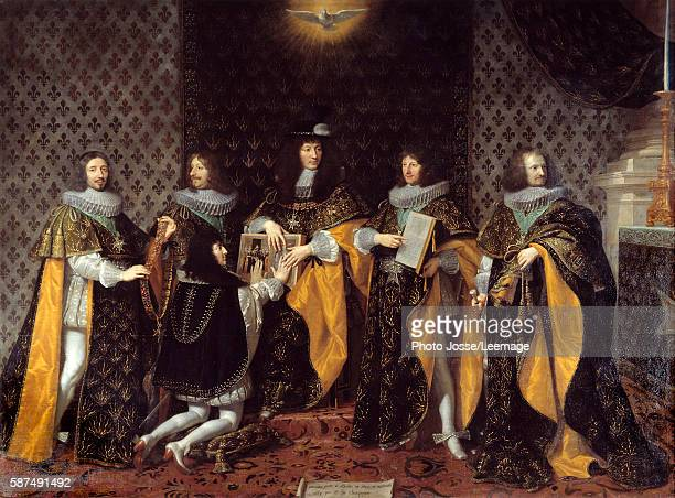 King Louis XIV receive his brother the Duke of Anjou Knight of the Order of the Holy Spirit Painting by Philippe de Champaigne 17th century BeauxArts...