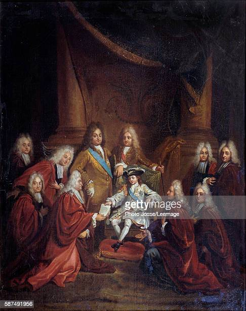 King Louis XV child granting patents of nobility to the Municipal Body of Paris in 1716 Painting by Louis Boullogne the Younger 1716 066 x 055 m...