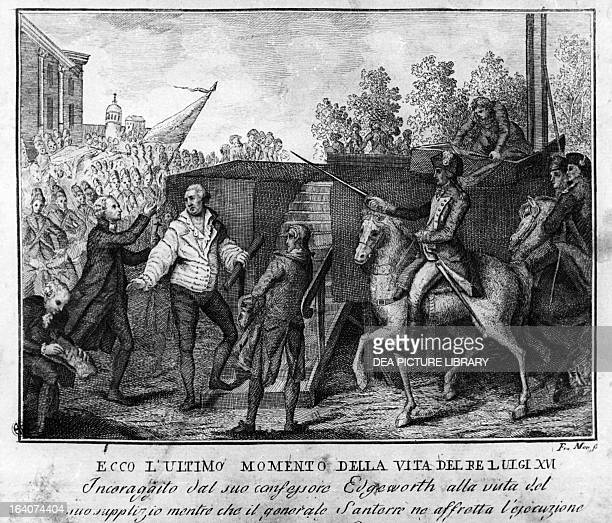 King Louis XVI of France being led to the guillotine January 21 engraving French Revolution France 18th century