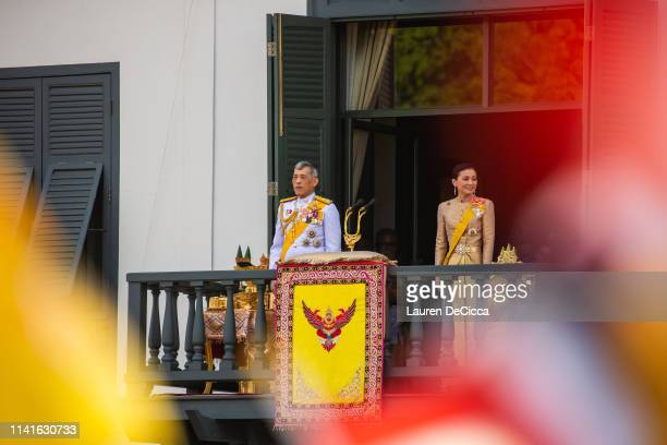 King Maha Vajiralongkorn addresses his public on a balcony of Suddhaisavarya Prasad Hall in the Grand Palace on May 6 2019 in Bangkok Thailand...