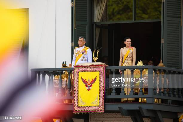 King Maha Vajiralongkorn addresses his public on a balcony of Suddhaisavarya Prasad Hall in the Grand Palace on May 6, 2019 in Bangkok, Thailand....