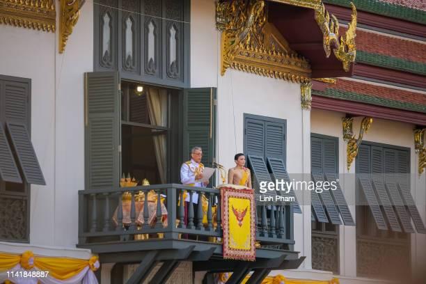 King Maha Vajiralongkorn addresses his public on a balcony of Suddhaisavarya Prasad Hall in the Grand Palace on May 6, 2019 in Bangkok, Thailand....