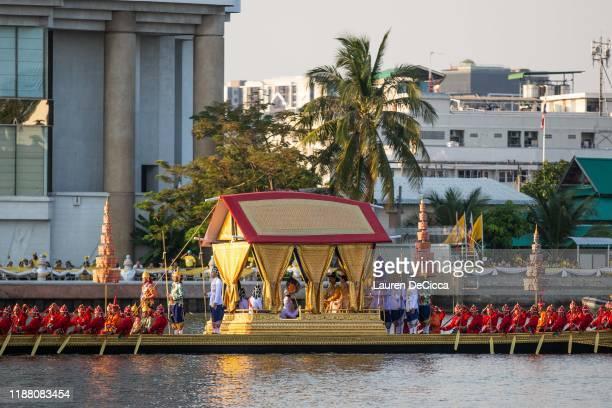 King Maha Vajiralongkorn, of Thailand, makes his way down the Chao Praya River during the royal barge procession, marking the final coronation event...