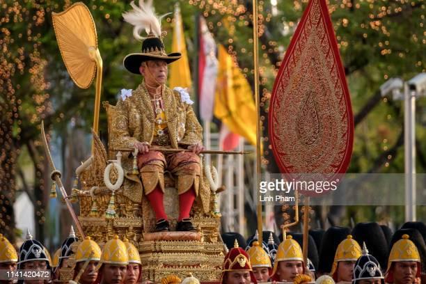 King Maha Vajiralongkorn takes part in a Royal Land Procession on May 5, 2019 in Bangkok, Thailand. Thailand held its first coronation for the first...