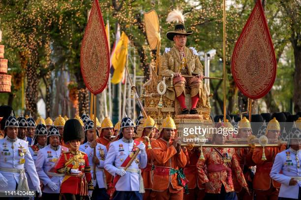 King Maha Vajiralongkorn takes part in a Royal Land Procession on May 5 2019 in Bangkok Thailand Thailand held its first coronation for the first...