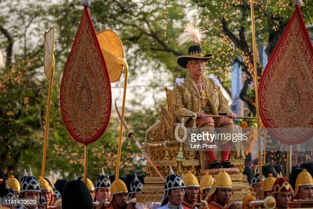 King Maha Vajiralongkorn takes part in a Royal Land Procession on May 5, 2019 in Bangkok, Thailand. Thailand held its first coronation for the first...