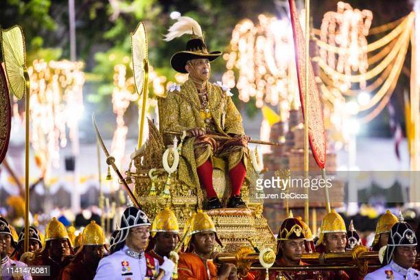 King Maha Vajiralongkorn takes part in the Royal Land Procession on the day following his coronation as King Rama X on May 5 2019 in Bangkok Thailand...