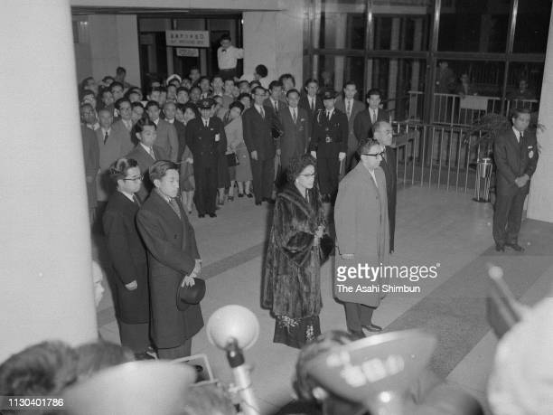King Mahendra and Queen Ratna of Nepal are seen off by Crown Prince Akihito and Prince Masahito on departure for the United States at Haneda Airport...