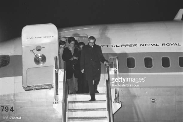 King Mahendra and Queen Ratna of Nepal are seen on arrival at Haneda Airport on March 28 1970 in Tokyo Japan