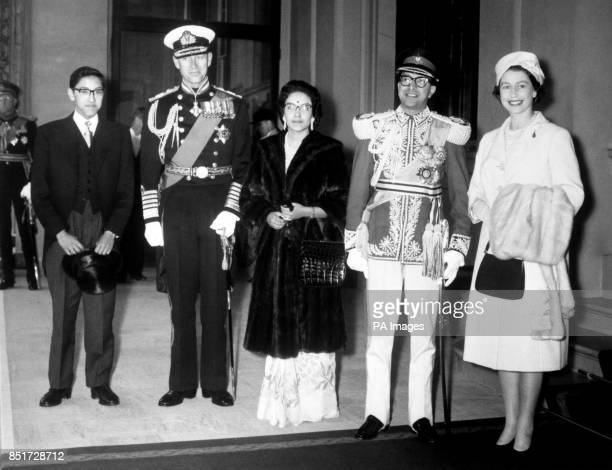 King Mahendra of Nepal and his consort Queen Ratna with crown Prince Birendra and their hosts Queen Elizabeth II and Prince Philip the Duke of...