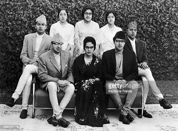 King Mahendra Of Nepal S Family From Left To Right And Downward Shaatishah Saradashah Shobashah Ayanendra Direndra King Mahendra Queen Ratna And Heir...