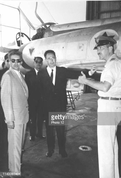 King mahendra of Nepal Shimon Peres and Ezer Weizman 1958