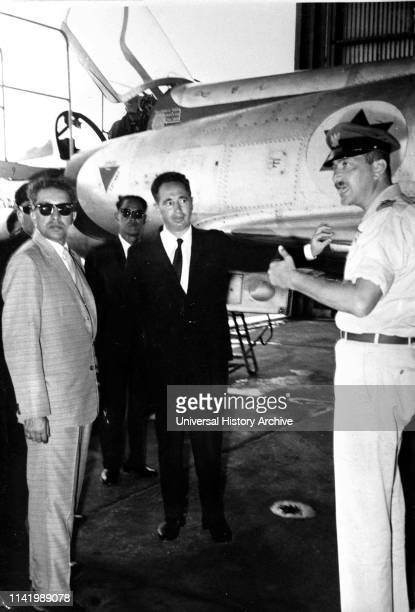 King Mahendra of Nepal with Shimon Peres Director of the Israeli Defence Ministry and Ezer Weizman commander of the Israeli Air Force 1958