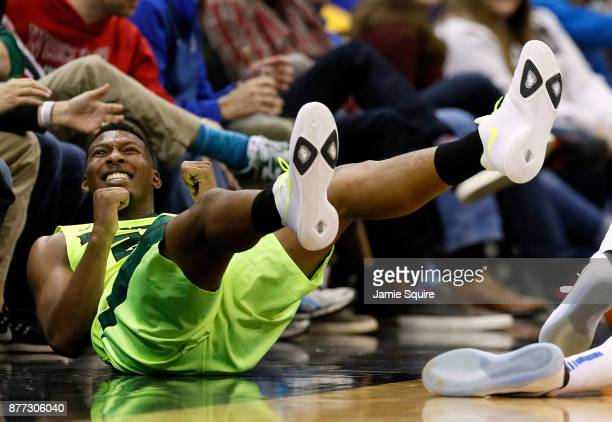 King McClure of the Baylor Bears celebrates after a foul during the National Collegiate Basketball Hall Of Fame Classic Championship game against the...