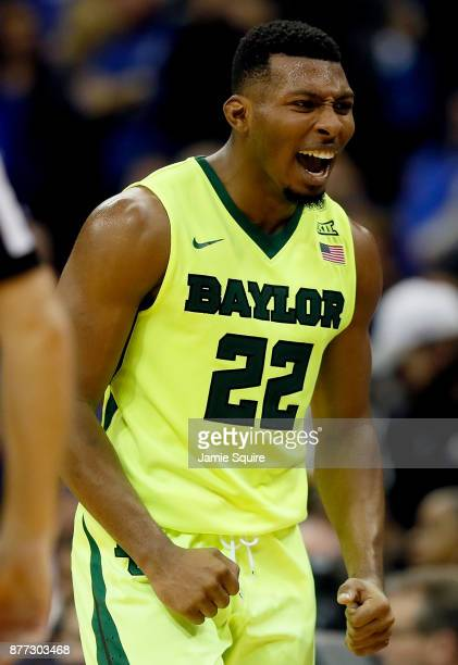King McClure of the Baylor Bears celebrates as the Bears defeat the Creighton Bluejays to win the National Collegiate Basketball Hall Of Fame Classic...