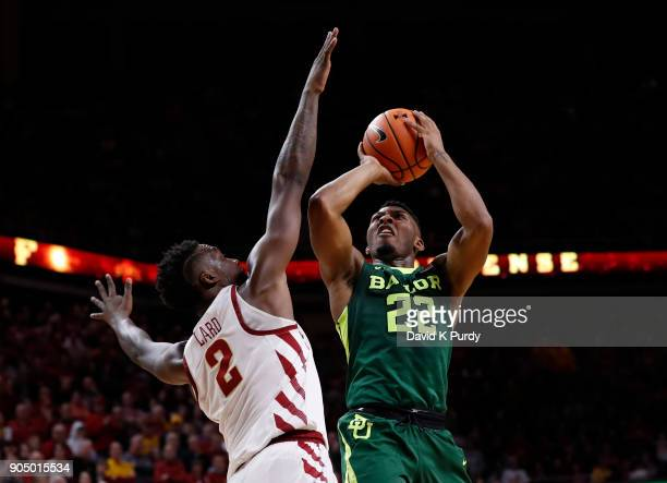 King McClure of the Baylor Bears takes a shot over Cameron Lard of the Iowa State Cyclones in the second half of play at Hilton Coliseum on January...