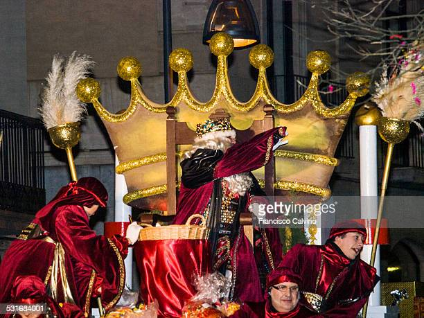 King Melchior one of the Three wise men in the Spanish tradition Three Kings Day parade at Terrassa Barcelona province Spain