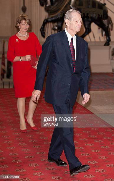 King Michael of Romania arrives at a lunch for Sovereign Monarch's held in honour of Queen Elizabeth II's Diamond Jubilee at Windsor Castle on May 18...