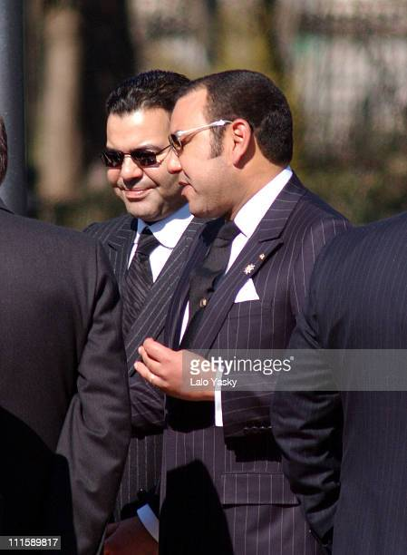 King Mohamed VI of Morocco and brother Prince Moulay During Atocha Terrorist Attacks 1st Anniversary at the 'Bosque de los Ausentes' in the Retiro...