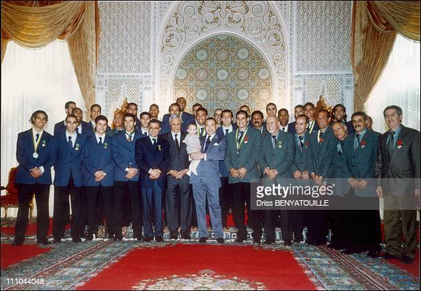 King Mohamed Vi With Son Prince Moulay Hassan Receiving Football Team Of Morocco In Marrakech Morocco On March 2004