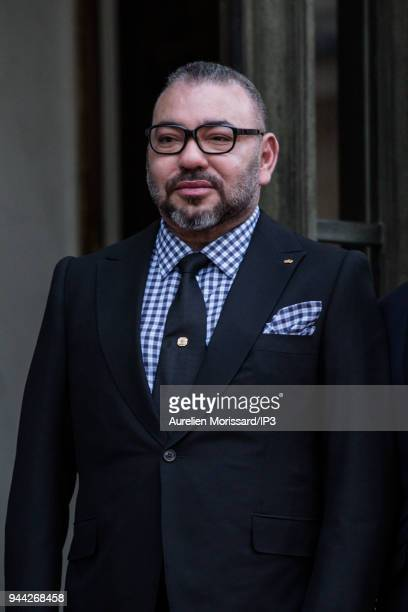 King Mohammed VI of Morocco arrives at Elysee Palace for a metting with the french president Emmanuel Macron on April 10 2018 in Paris France...