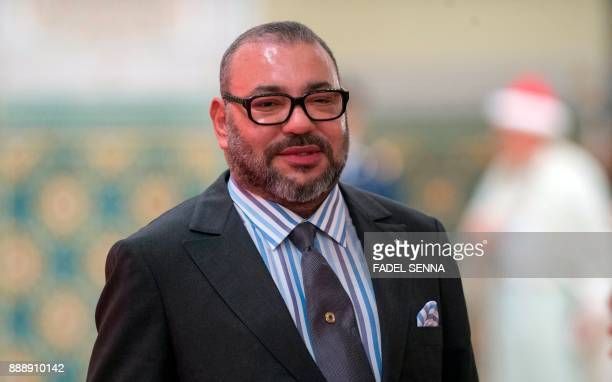 King Mohammed VI of Morocco arrives for the signing ceremony between Morocco and Chinese automobile manufacturer BYD auto on December 9 at the Royal...