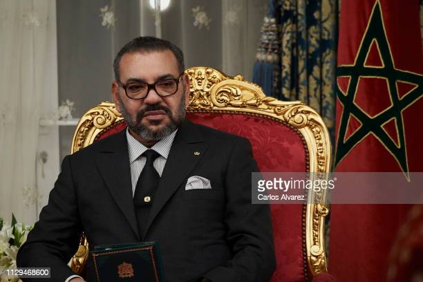 King Mohammed VI of Morocco attends the signing of bilateral agreements at the Agdal Royal Palace on February 13 2019 in Rabat Morocco The Spanish...