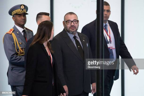 King Mohammed VI of Morocco center arrives at the One Planet Summit in Paris France on Tuesday Dec 12 2017 French President Emmanuel Macron hosts at...
