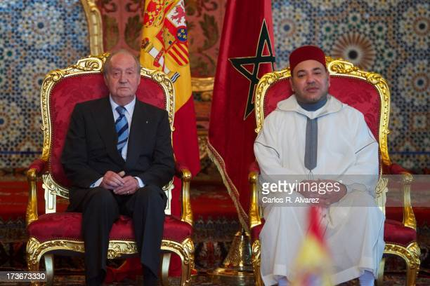 King Mohammed VI of Morocco receives King Juan Carlos of Spain at the Royal Palace during the second day of his visit to Morocco on July 16 2013 in...