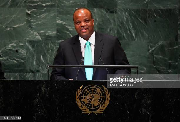 King Mswati III Head of State Kingdom of Eswatini addresses the United Nations General Assembly in New York on its second day September 26 2018